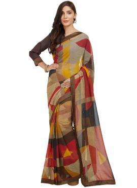 Casual Saree Printed Art Silk in Multi Colour