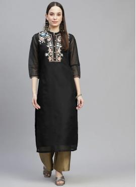 Catchy Black Embroidered Party Wear Kurti