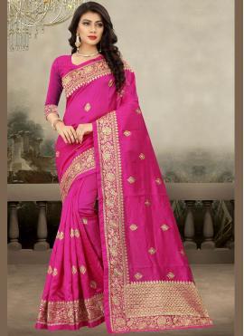Catchy Embroidered Magenta Designer Traditional Saree