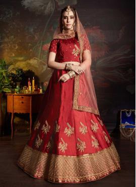 Catchy Lace Satin Maroon Lehenga Choli