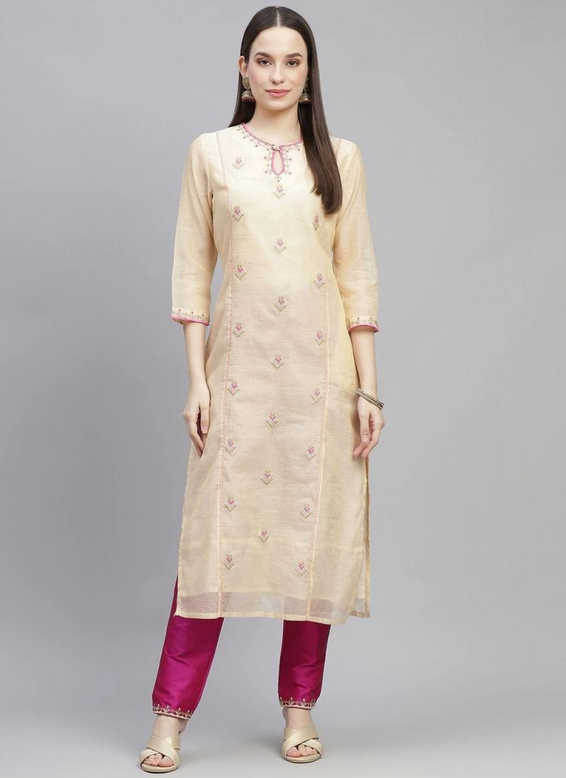 Celestial Cream Embroidered Chanderi Party Wear Kurti