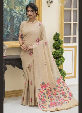 Celestial Print Linen Beige Trendy Saree
