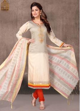 Chanderi Churidar Designer Suit in Cream