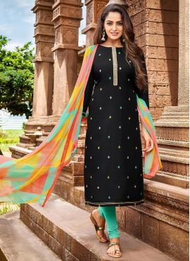 Chanderi Cotton Embroidered Black Salwar Kameez