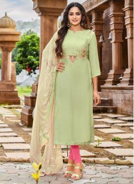 Chanderi Cotton Embroidered Salwar Kameez in Green