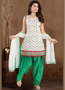 Chanderi Designer Patiala Suit in Green and White