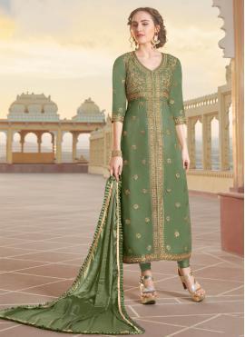 Chanderi Green Embroidered Designer Straight Suit