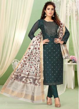 Chanderi Teal Embroidered Designer Salwar Kameez