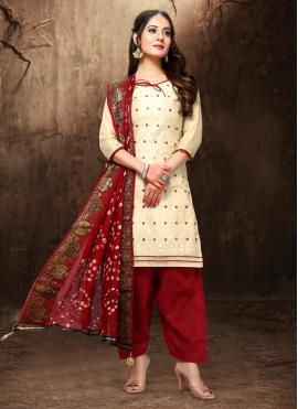 Chanderi Zari Cream Salwar Suit