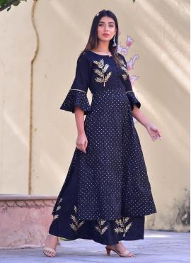 Charismatic Blue Jamawar Silk Designer Kurti