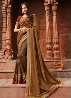 Charismatic Brown Silk Trendy Saree