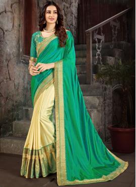 Charismatic Embroidered Green Art Silk Trendy Saree