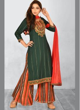 Charismatic Green Ceremonial Bollywood Salwar Kameez