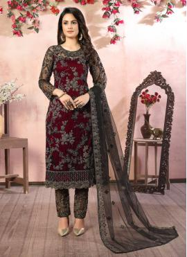 Charismatic Net Embroidered Pant Style Suit
