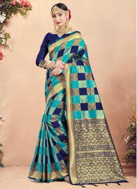 Charismatic Woven Art Banarasi Silk Multi Colour Designer Traditional Saree