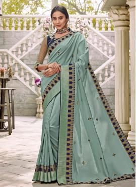 Charming Aqua Blue Ceremonial Trendy Saree