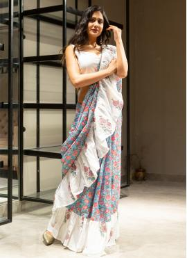 Charming Block Print Grey and Off White Contemporary Saree