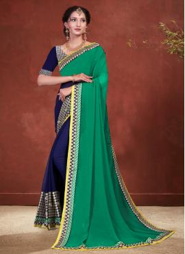 Charming Blue and Green Patch Border Faux Georgette Designer Half N Half Saree