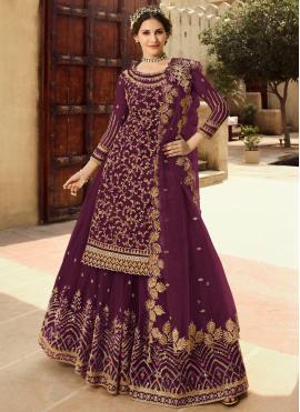 Charming Embroidered Purple Long Choli Lehenga