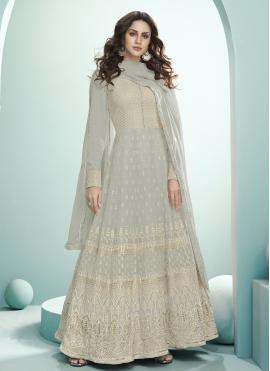 Charming Grey Anarkali Salwar Kameez