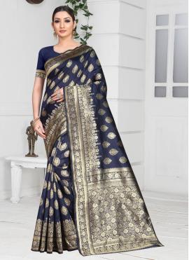 Charming Weaving Navy Blue Silk Designer Saree