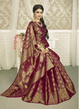 Charming Weaving Wine Silk Saree