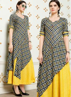 Cherubic Black and Yellow Fancy Fabric Party Wear Kurti