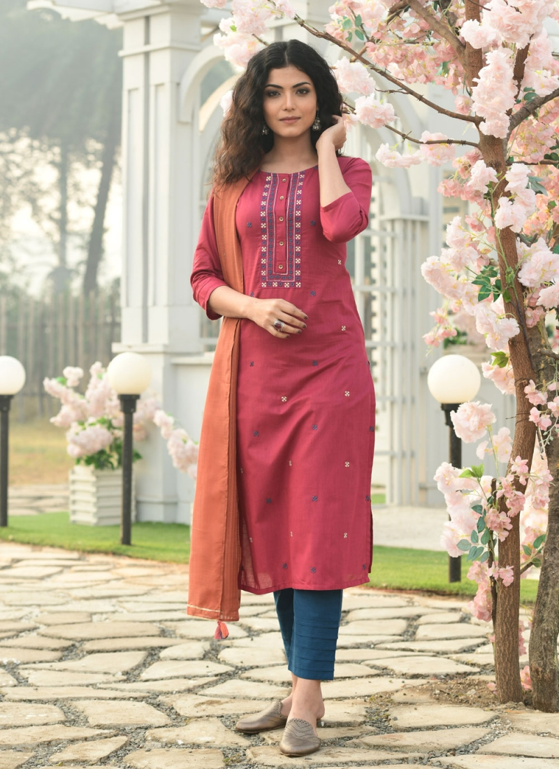 Cherubic Cotton Pink Embroidered Readymade Suit