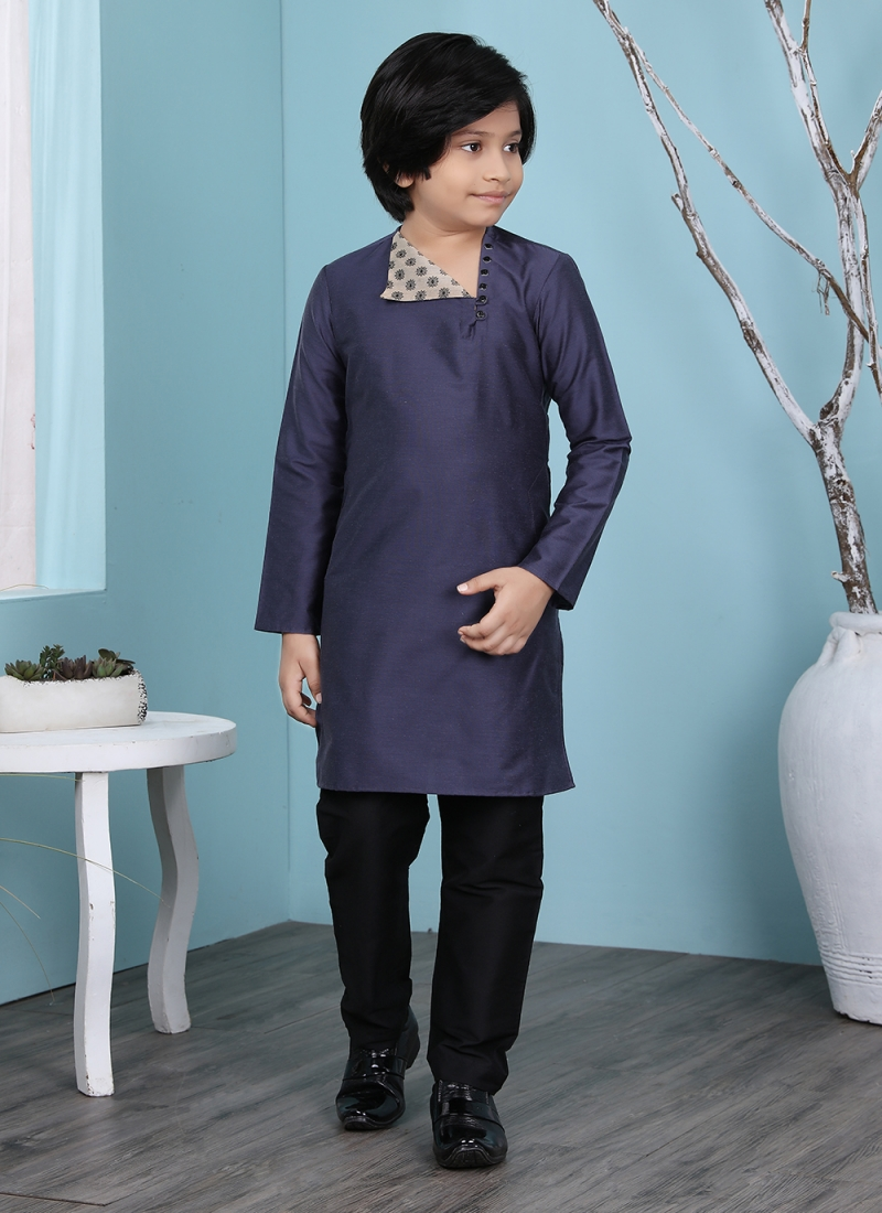 Cherubic Cotton Silk Plain Navy Blue Kurta Pyjama