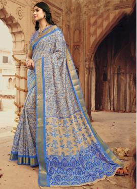 Cherubic Printed Multi Colour Silk Designer Saree