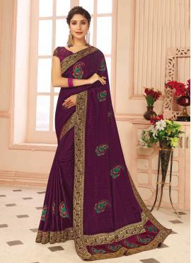 Cherubic Silk Purple Weaving Traditional Saree