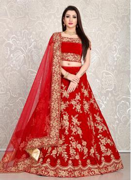 Cherubic Velvet Red Embroidered Bollywood Lehenga Choli
