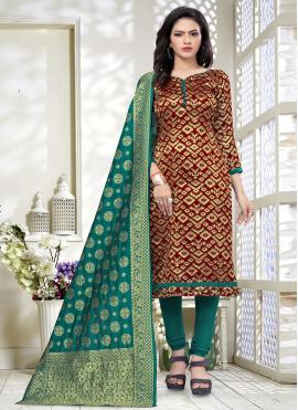 Cherubic Weaving Maroon Banarasi Silk Churidar Suit