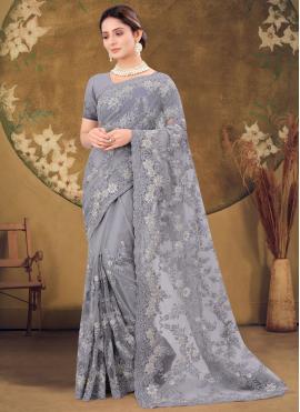 Chic Grey Embroidered Designer Saree