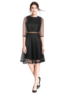 Chic Plain Net Black Designer Kurti