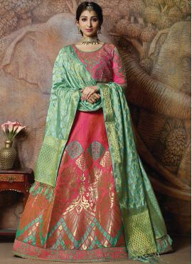 Chic Silk Embroidered Rose Pink Designer Lehenga Choli