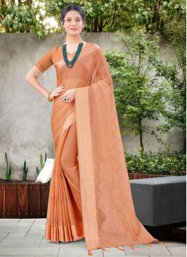 Chic Stone Work Chiffon Satin Peach Designer Traditional Saree