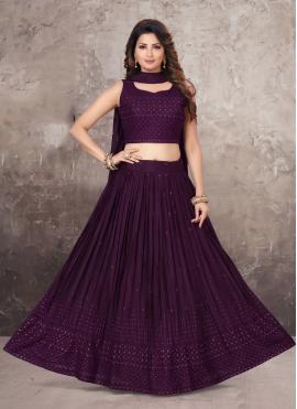Chinon Lehenga Choli in Purple