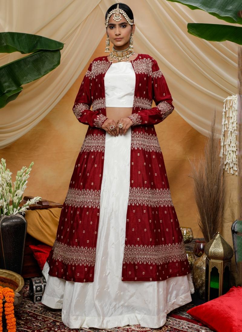 Chinon Sequins White Trendy Lehenga Choli