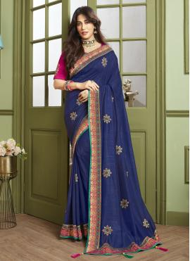 Chitrangada Singh Fancy Fabric Blue Patch Border Designer Traditional Saree