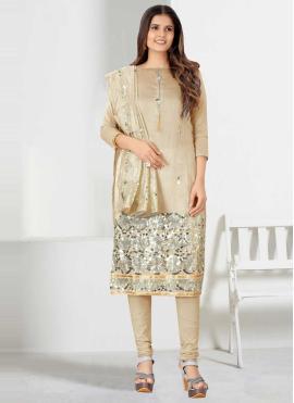 Churidar Designer Suit Fancy Chanderi Cotton in Beige