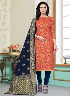 Churidar Salwar Suit Weaving Banarasi Silk in Peach