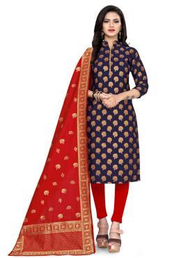 Churidar Suit Weaving Banarasi Silk in Blue