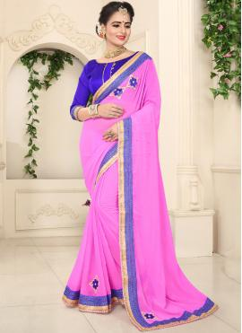 Classic Saree Patch Border Faux Chiffon in Pink