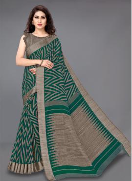 Classic Saree Printed Cotton in Green