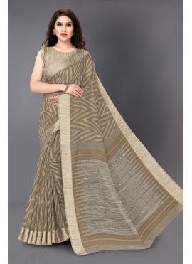 Classic Saree Printed Cotton in Grey