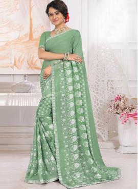 Classic Saree Printed Georgette in Green