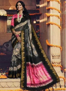 Classic Saree Printed Silk in Multi Colour