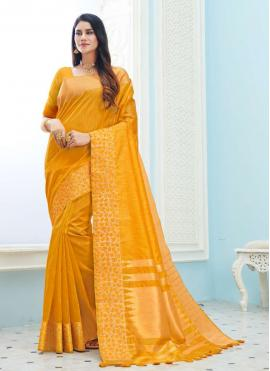 Classic Saree Weaving Art Silk in Yellow