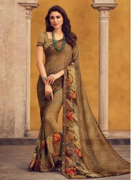 Classical Printed Brown Printed Saree